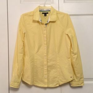 Tommy Hilfiger Yellow Cotton Button Down Blouse